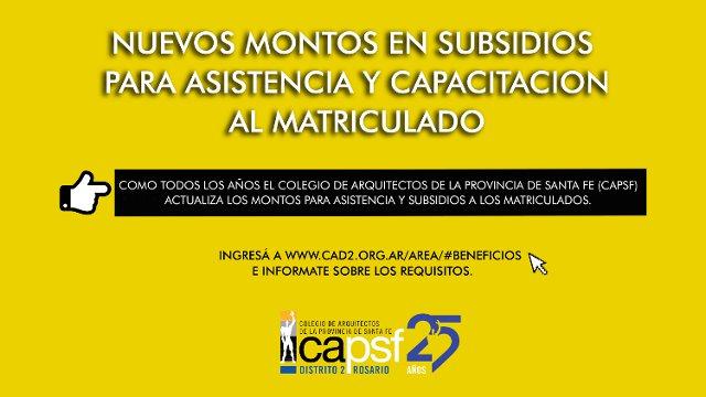 montos en subsidios para asistencia y capacitaciÓn al matriculado | CAd2