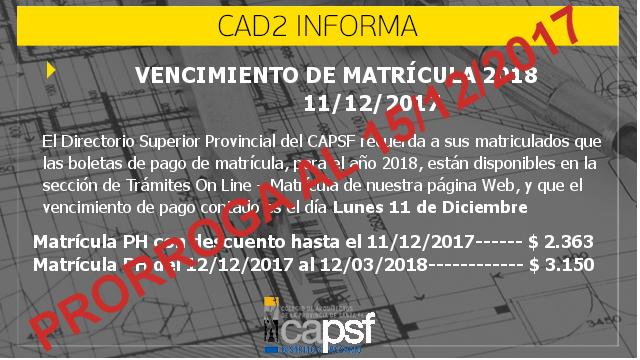 prorroga matriculaciÓn 2018 | CAd2