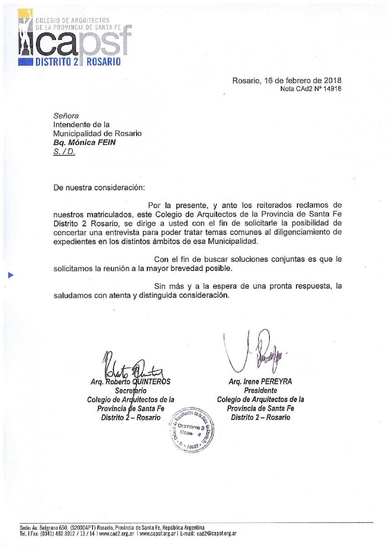 pedido de audiencia a la intendente de rosario | CAd2
