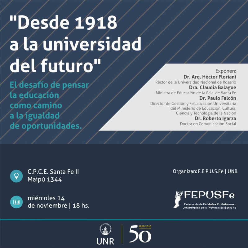 "invitacion al panel debate ""desde 1918 a la universidad del futuro"