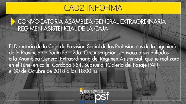 convocatoria asamblea general extraordinaria del rÉgimen asistencial de la caja | CAd2