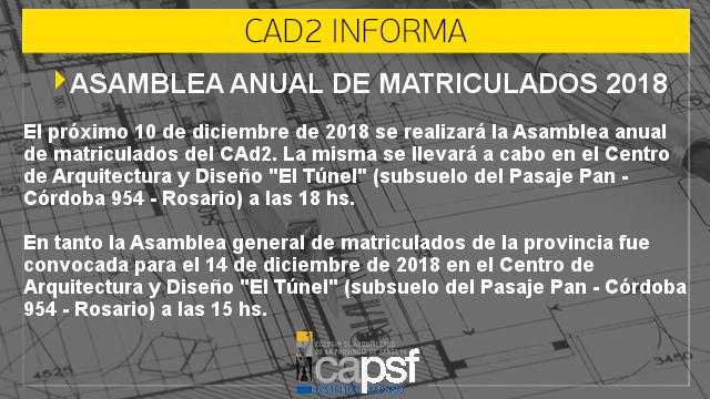 asamblea anual de matriculados 2018 | CAd2
