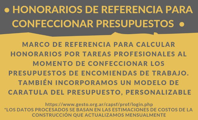 honorarios de referencia para confeccionar presupuestos | CAd2